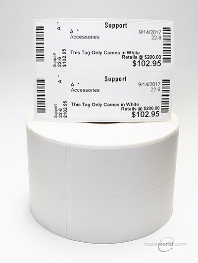 "Two Across Sticky Thermal Tags, No Stub, 2.375"" x 3.375"", 4000 count"