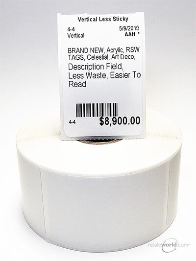 Less Sticky Vertical Thermal Tags, 8 Rolls, 4000 count