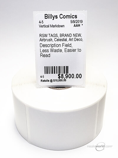 "Vertical Sticky Thermal Tags, No Stub, 1.5625"" x 2.375"", 8 rolls, 4000 count"