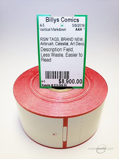 "Vertical Thermal Tags With Stub, 1.5625"" x 2.375"", 8 rolls, 4000 count"